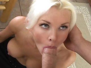 Blonde, Blowjob, Blue Eyed, Brandi Edwards, Cute, Desk, Homemade, Kitchen, Licking, MILF,