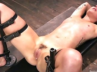 BDSM, Bondage, Boobless, Dildo, Dungeon, HD, Kinky, Moaning, Sex Toys, Short Haired,