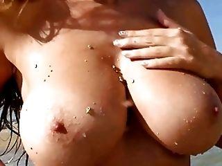 Babe, Beach, Big Tits, Carol Goldnerova, HD, Huge Tits, Nature, Outdoor,