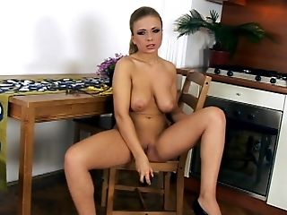 Babe, Big Tits, Blonde, Blowjob, Bold, Dildo, Kitchen, Natural Tits, Steliana, Teen,