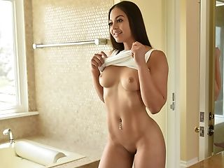 Babe, Bathroom, Big Tits, Boots, Brunette, Cum, Doggystyle, Gorgeous, Pornstar, Pussy,