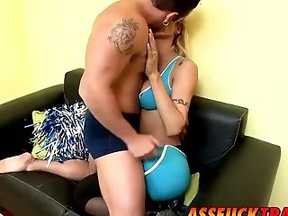 Ass, Blonde, Blowjob, Cheerleader, Guy Fucks Shemale, Hardcore, HD, Shemale Fucks Guy, Tranny,
