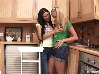 Boobless, Fingering, Friend, Jerking, Jessica Miller, Kitchen, Lesbian, Long Hair, Russian, Shorts,